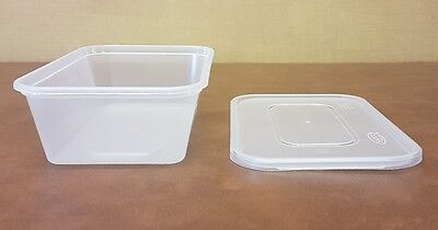 50 x Heavy Duty Clear Plastic 650ml Containers with Lids Satco Microwave Safe