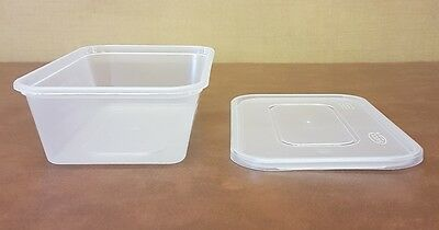 100 x Heavy Duty Clear Plastic 650ml Containers with Lids Satco Microwave Safe