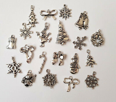 20 Christmas Charms/Pendant-Tibetan Silver/Antique Silver Tone-Xmas-Metal/Alloy