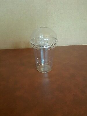 100 x 16oz Clear Plastic Smoothie Cups And Domed Lids With Hole DART/SOLO