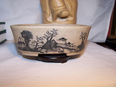 OLD ARTIST Signed Chinese Yixing Pottery Bowl Plate Planter HANDPAINTED VILLAGE