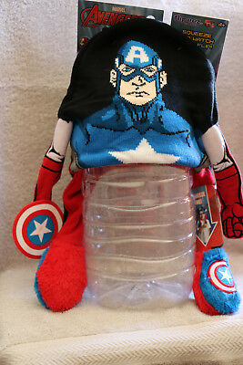 Disney Captain America - Flipeez Kids Squeeze & Flip Up Hat Winter Cap Beanie