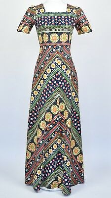 Vintage size 8 1970s geometric vivid floral print cotton maxi with short sleeves