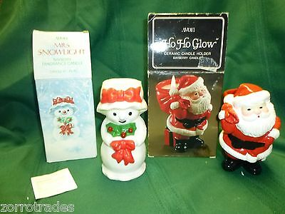 Lot AVON Mrs. Snowlight & Ho Ho Glow Ceramic BAYBERRY FRAGRANCE CANDLE & holder