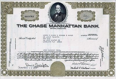 The Chase Manhattan Bank, New York 1969 (109 Shares) sig.Rockefeller + Patterson