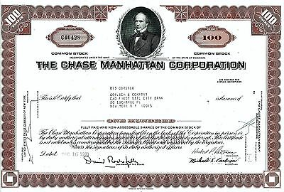 The Chase Manhattan Corporation, 1969 (100 Shares) sig. Rockefeller + Patterson