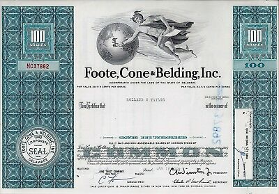 Foote, Cone & Belding, Inc., Delaware, 1969 (100 Shares)