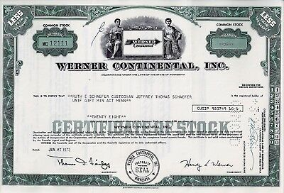 Werner Continental Inc., Minnesota, 1972 (28 Shares)