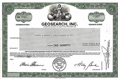 Geosearch Inc., New York, 1981 (200 Shares)