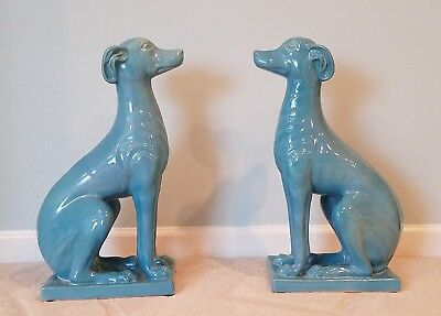 Large greyhound, whippet, IG, pair of ceramic figurines, greyhound statue