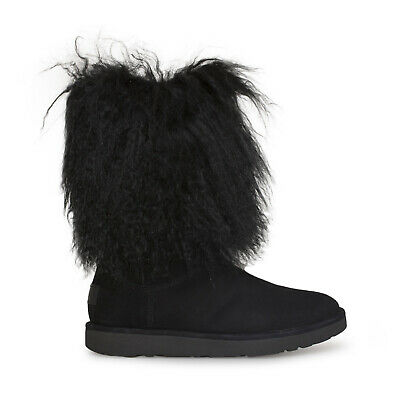 5d697ceb736 UGG LIDA BLACK Suede Sheepskin Mongolian Cuff Womens Boots Size Us 5/uk 3.5  New