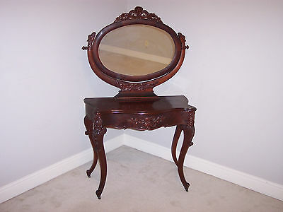 Antique Flame Mahogany Ladies' Vanity Writing Desk with Wishbone Mirror