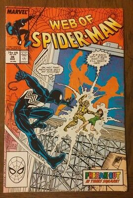 WEB OF SPIDER-MAN #36 - 1st appearance of TOMBSTONE Marvel Comics FINE Pics