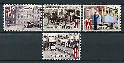 Belarus 2017 MNH Minsk Horse Railway Trams 4v Set Horses Rail Railways Stamps