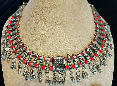 Vintage Antique Old Yemenite Bedouin Tribal Ethnic Red Coral Silver Necklace N1