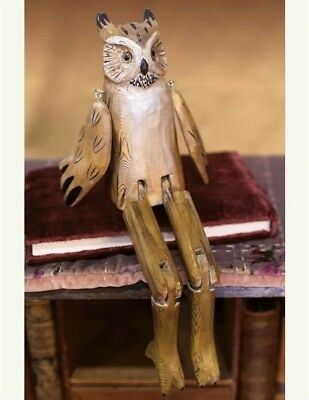 "Victorian Trading Co Whittled Wooden Owl Shelf Sitter Figurine 14""  NIB"