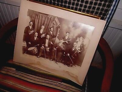 "Antique  Victorian Extra Large Photo Musicians 12"" X 15 1/2"" B/W"