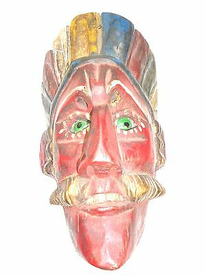 Guatemalan Folk Art Carving Wood dance Mask Conquest Dancing Green Glass eyes