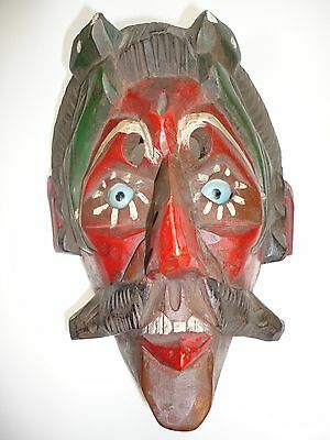 Guatemalan  Folks Art Carving Wood Mask Conquest Dancing man Blue Glass eyes