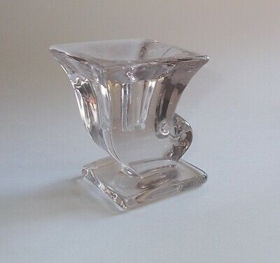 Vintage / Antique Clear Heavy Glass Candle Holder-Art Deco Style-Single Piece