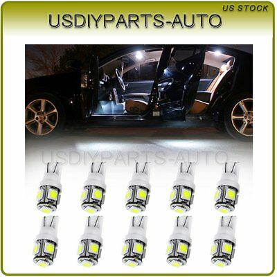 10Pcs White 5-5050SMD LED Interior Door Dome Map Light Bulbs Lamp T10 194 168