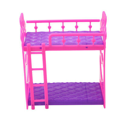 Plastic Miniature Double Bed Dollhouse Toy Bedroom Furniture For Barbie Dolls
