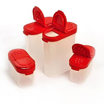 BRAND NEW TUPPERWARE spice shakers - Set of 4 Shakers - 2 Large/2 Small - Red