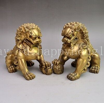 FengShui Chinese Pure Brass Wealth Foo Fu Dog Guard Lion Ball Statue Pair