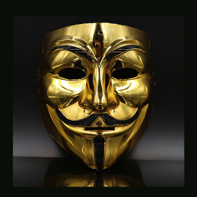 Creative Gold/Silver V for Vendetta Guy Fawkes Mask Anonymous Halloween Fashion