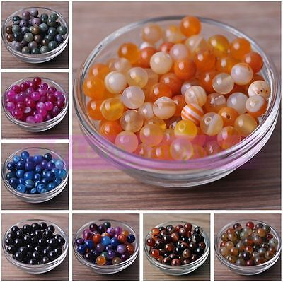 Wholesale Lot Charms Round Natural Stone Gemstone Loose Spacer Beads 4/6/8/10mm