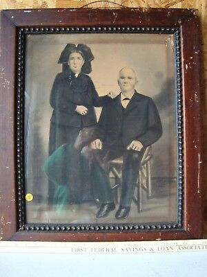 """Antique Framed with portrait photo ?  Victorian Man & Woman  21""""x25"""""""