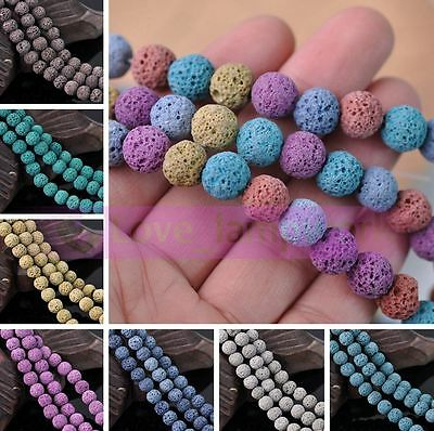 10mm Natural Volcanic Lava Rock Gemstone Round Spacer Loose Stone Beads Jewelry