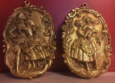 pair of antique French 1800s small gilt bronze 24k Plate Victoria Time Rare !!!!