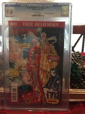 TRUE BELIEVERS DEADPOOL #1 (2016) CGC 9.8 New Mutants 98