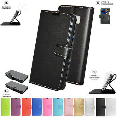 Alcatel U5 HD Flip Book Pouch Cover Case Wallet Leather Phone Black Pink
