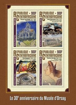 Central African Republic 2016 MNH Orsay Museum Van Gogh 4v M/S Art Stamps