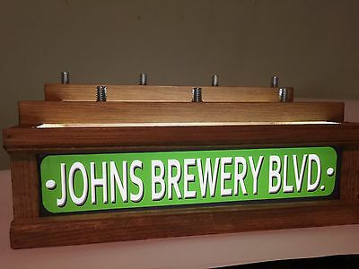7 BEER tap handle display WITH LED LIGHTED BAR SIGN - PERSONALIZED STREET SIGN