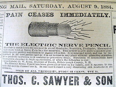 2 1884 newsapers wth illustrated QUACK MEDICINE ADS for THE ELECRIC NERVE PENCIL