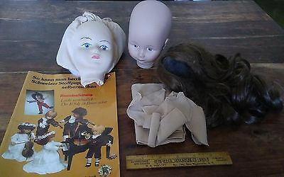 Vtg rare Swiss Glorex wig doll heads pattern and instruction booklet in German