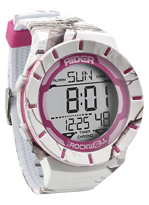 New Rockwell Watch Coliseum Rider Rcl 107  White Pink Accent Timer Chrono Snow