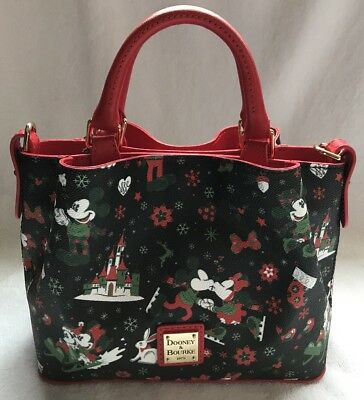 Disney Dooney & and Bourke Christmas Woodland Winter Holiday Tote Purse Bag 2