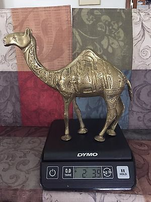 "Two Vintage Brass Camels W/Etchings Egyptian Style Camels are 9""x8"" & 8"" X 6"""