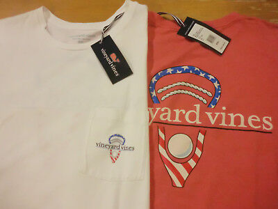 "Vineyard Vines ""Stars & Stripes Lax Head"" S/S Mens Pocket T-Shirt, NWT -XXL, 2XL"