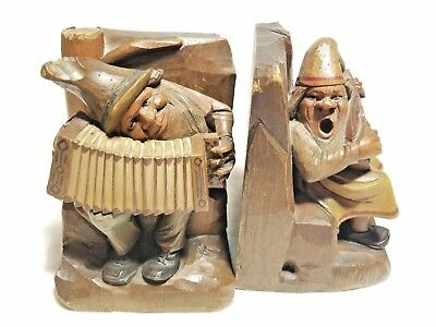 Antique Hand Carved Wood Bookends Book Ends, Musicians