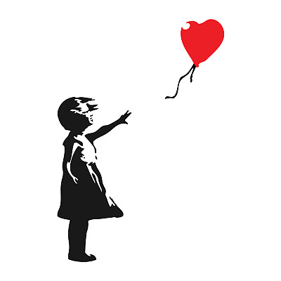 Banksy Girl Balloon Decor Vinyl Stickers, Window, Wall, Car, Laptop Decals Gift