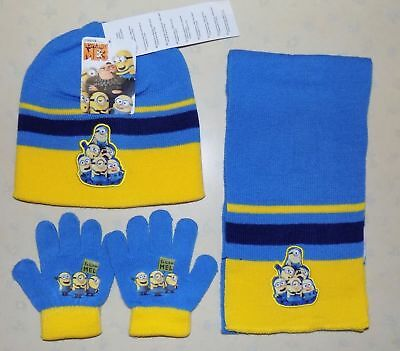 Kids Minions Despicable Me Beanie Hat, Scarf & Gloves Set Light Blue Age 3-7 Yrs
