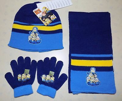 Kids Minions Despicable Me Beanie Hat, Scarf & Gloves Set Navy Blue Age 3-7 Yrs