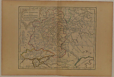 c.1780 Genuine Antique Map Western Russia. Poland to Volga River. De Vaugondy