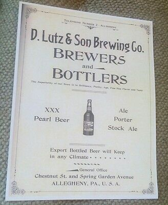 1894 Lutz Brewing Co. Pittsburgh Allegheny PA Ale Porter Bottlers Beer Ad Poster