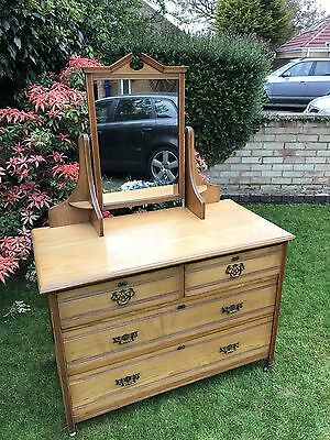 Edwardian Antique Satin Wood Dressing Chest Of Drawers With Mirror.